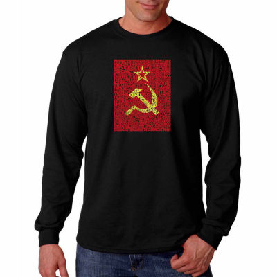Los Angeles Pop Art Long Sleeve Lyrics to the Soviet National Anthem Word Art T-Shirt