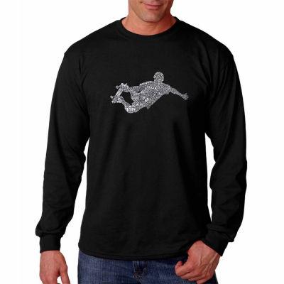 Los Angeles Pop Art Long Sleeve Popular Skating Moves & Tricks Word Art T-Shirt