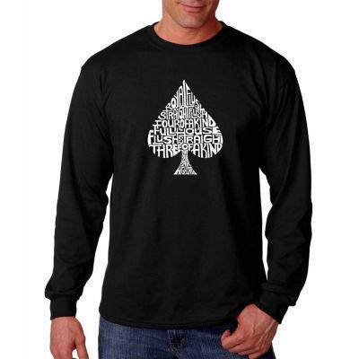 Los Angeles Pop Art Long Sleeve Order of Winning Poker Hands Word Art T-Shirt