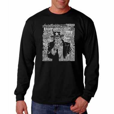 Los Angeles Pop Art Long Sleeve Uncle Sam Word ArtT-Shirt