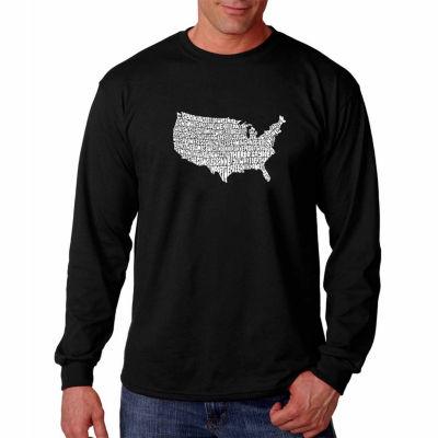 Los Angeles Pop Art Long Sleeve the Star SpangledBanner Word Art T-Shirt