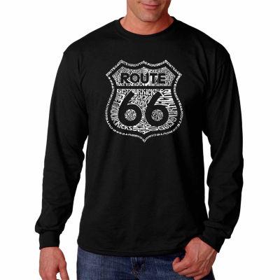 Los Angeles Pop Art Long Sleeve Get Your Kicks onRoute 66 Word Art T-Shirt