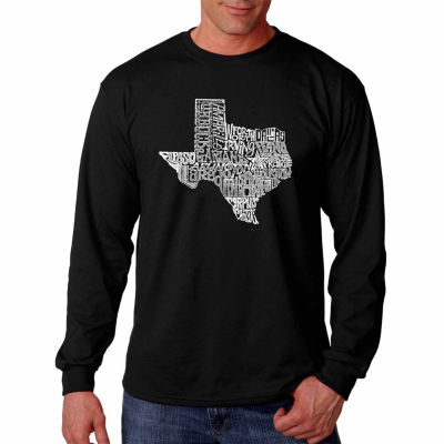 Los Angeles Pop Art Long Sleeve the Great State ofTexas Word Art T-Shirt