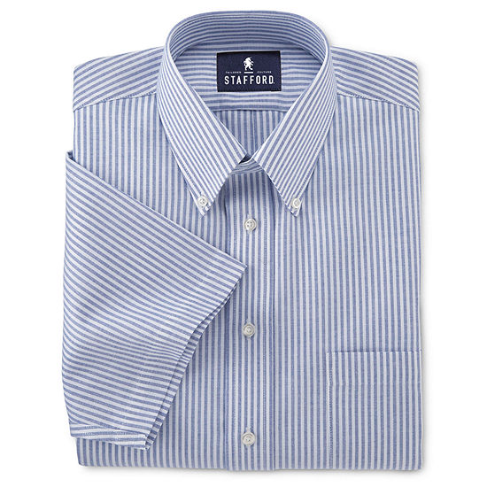 Stafford Mens Short Sleeve Wrinkle Free Button Down Collar Oxford Mens Dress Shirt
