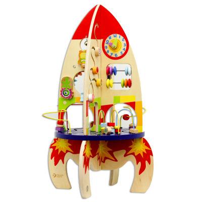 Wood Multi Activity Rocket Toy Playset - Unisex