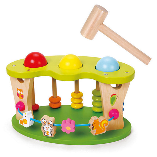 Classic Toy Wooden Multi-Activity Punch Ball Playset