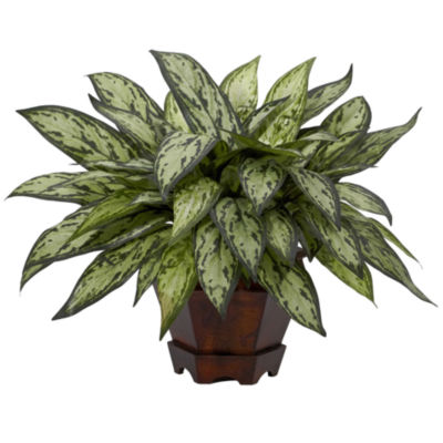 Nearly Natural Triple Silver Queen Faux-Silk Plant with Hexagon Vase