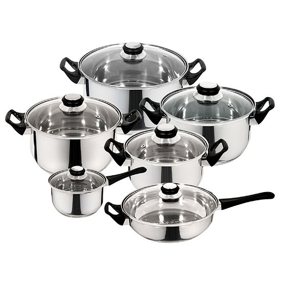 12-pc. Stainless Steel Dishwasher Safe Cookware Set