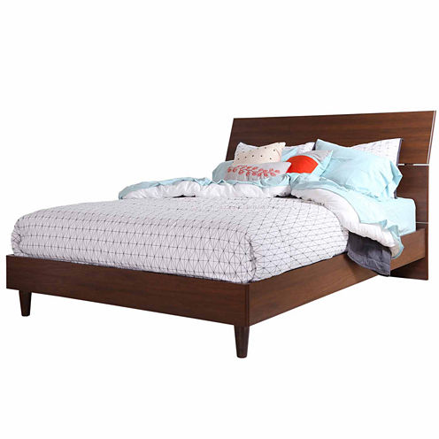 """Olly Mid-Century Modern Queen Platform Bed with headboard (60"""")"""