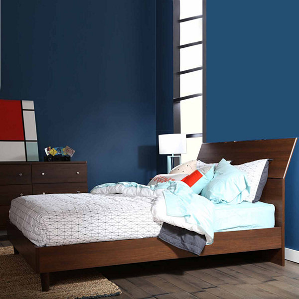 "Olly Mid-Century Modern Queen Platform Bed with headboard (60"")"