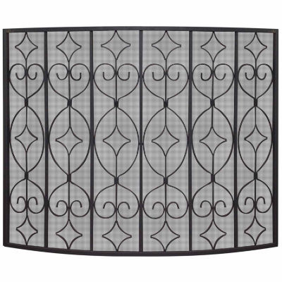 Single Panel Wrought Curved Fireplace Screen