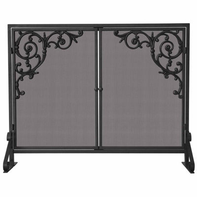 Single Panel Olde World Iron Fireplace Screen