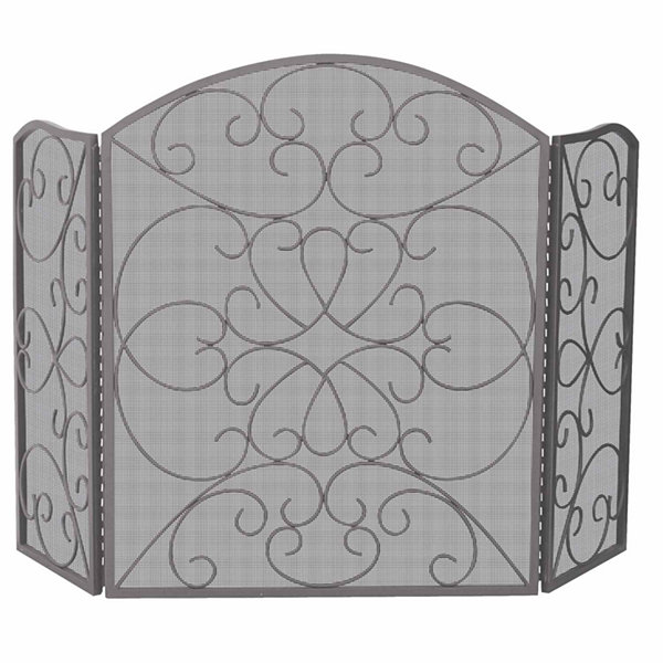 3 Fold Bronze Ornate Fireplace Screen