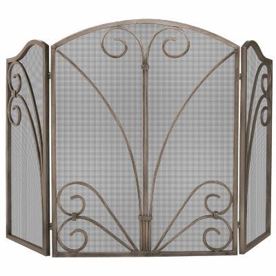 3 Fold Venetian Bronze Fireplace Screen