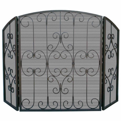 3 Fold Graphite Fireplace Screen