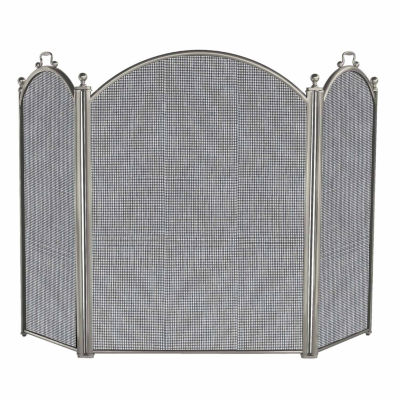 3 Panel Satin Pewter Finish Fireplace Screen