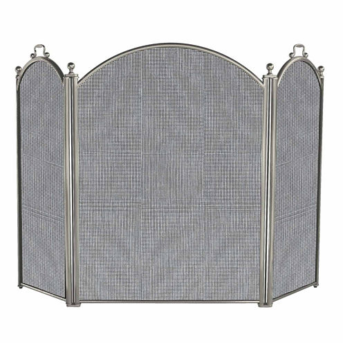 Blue Rhino 3 Panel Satin Pewter Finish Fireplace Screen