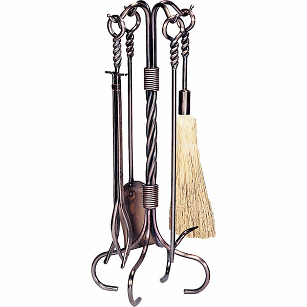 Copper Wrought Iron Fireplace Tool Set