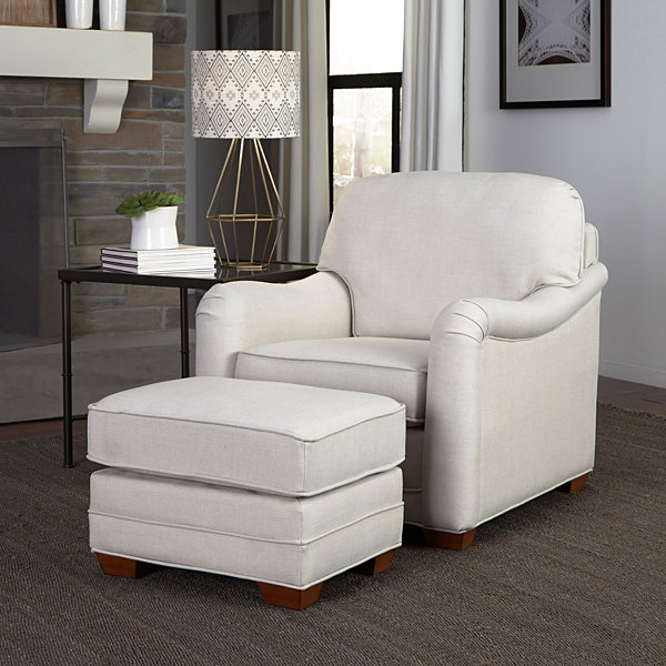 Heather Chair Ottoman Faux Leather Chair