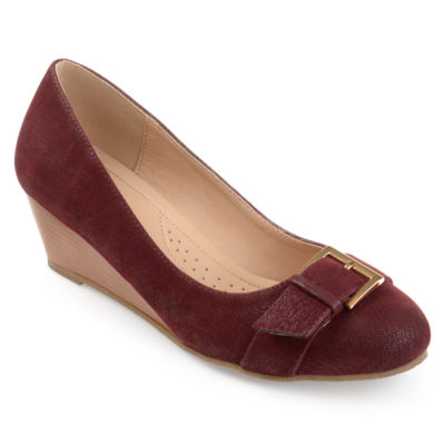 Journee Collection Womens Graysn Pumps Slip-on Round Toe Wedge Heel