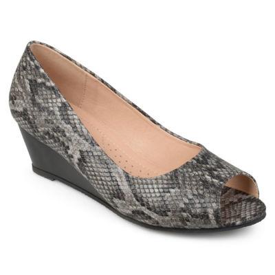 Journee Collection Chaz Womens Pumps Slip-on Peep Toe Wedge Heel