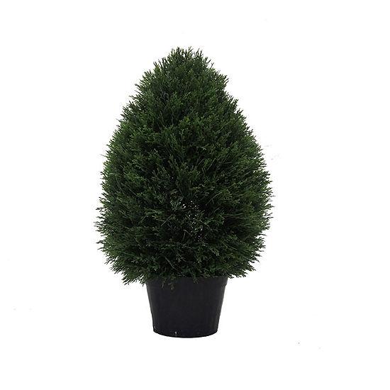 "Vickerman 24""Hx15""D Cedar Teardrop Shaped Bush ina Black Planters Pot  UV Resistant"""