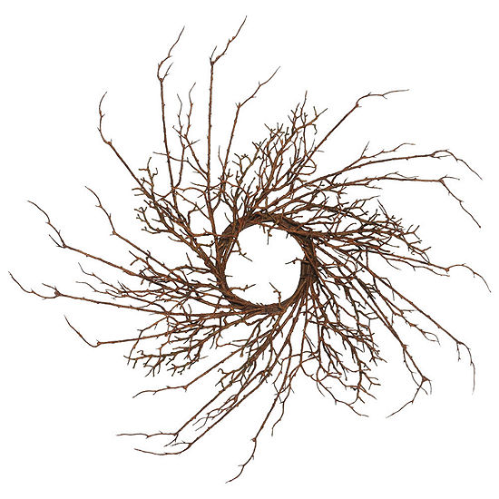 "Vickerman 30"" Brown Thicket Imitated Branch WreathX 30"