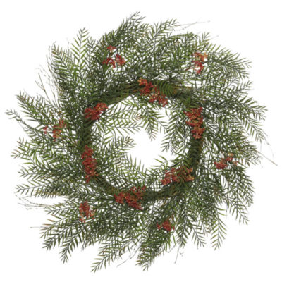 "Vickerman 30"" Green Brazil Berry and Leaf Wreath Featuring 222 Leaves and 12 Berry Clusters"""