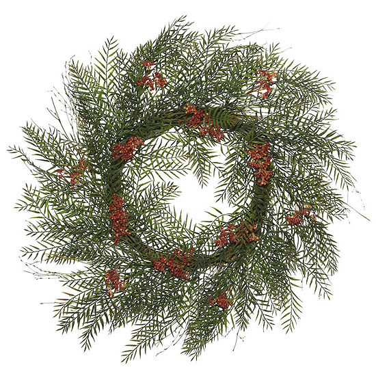 """Vickerman 30"""" Green Brazil Berry and Leaf Wreath Featuring 222 Leaves and 12 Berry Clusters"""""""