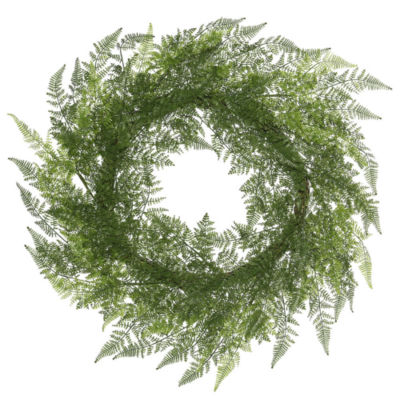 "Vickerman 30"" Green Lace Fern Wreath Featuring 78 Fronds"