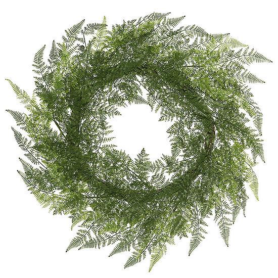 "Vickerman 30"" Green Lace Fern Wreath Featuring 78 Fronds"