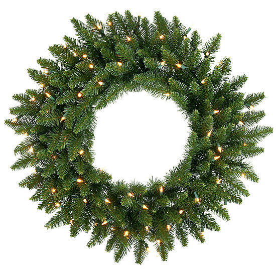 "Vickerman 30"" Camdon Fir Christmas Wreath with 50 Clear Lights"