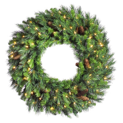 "Vickerman 30"" Cheyenne Pine Christmas Wreath with 100 Clear Lights"