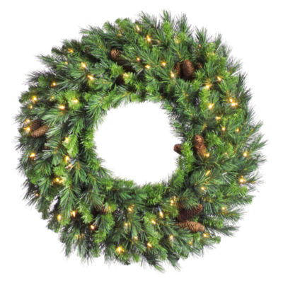 "Vickerman 30"" Cheyenne Pine Christmas Wreath with 100 Warm White LED Lights"