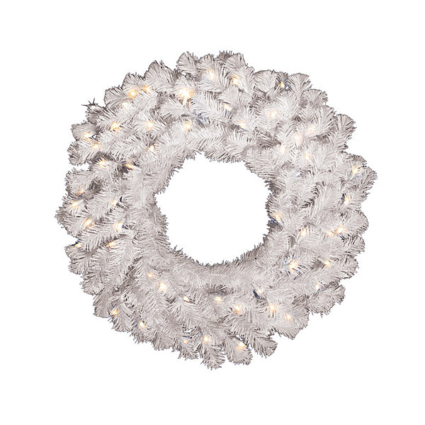 "Vickerman 30"" Crystal White Spruce Christmas Wreath with 50 Warm White LED Lights"""