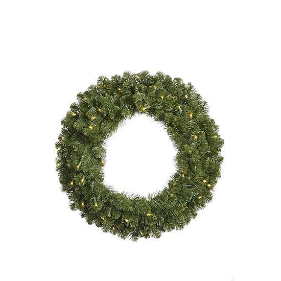"Vickerman 30"" Grand Teton Christmas Wreath with 50 Warm White LED Lights"