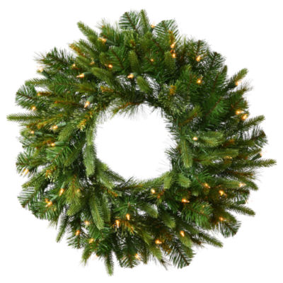 """Vickerman 36"""" Cashmere Christmas Wreath with 100 Warm White LED Lights"""""""