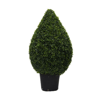 "Vickerman 36"" Hx20"" D Boxwood Teardrop Shaped Bush in a Black Planters Pot  UV Resistant"