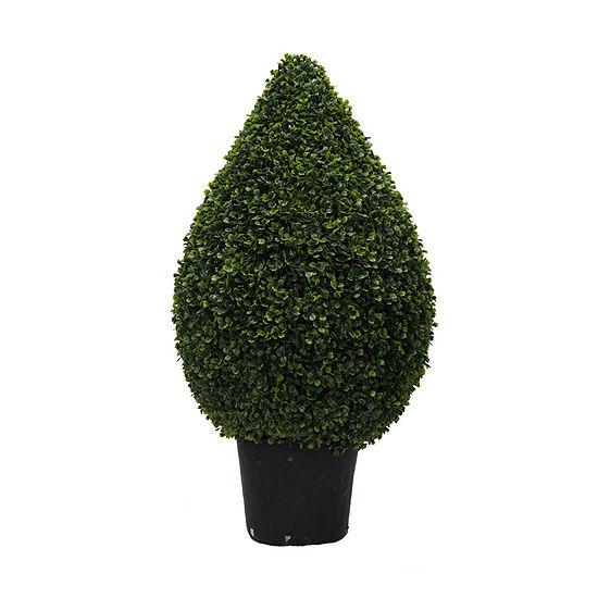 "Vickerman 36"" Hx20"" D Boxwood Teardrop Shaped Bush in a Black Planters Pot  UV Resistant"