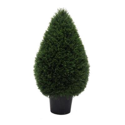 "Vickerman 36""Hx20""D Cedar Tteardrop Shaped Bush ina Black Planters Pot  UV Resistant"