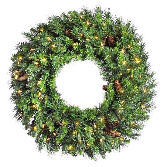 "Vickerman 48"" Cheyenne Pine Christmas Wreath with150 Warm White LED Lights"