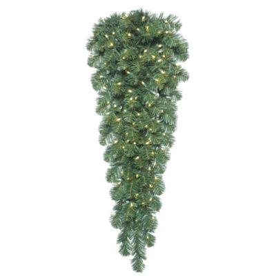 "Vickerman 48"" Oregon Fir Christmas Teardrop with 100 Warm White LED Lights"""