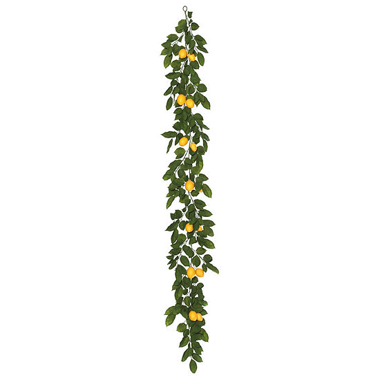 Vickerman 6' Green and Yellow Salal Leaf Lemon Garland Featuring 52 Branches with 14 Lemons