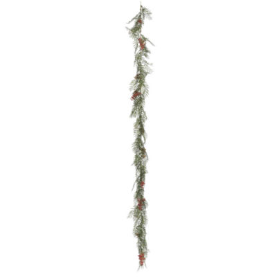 Vickerman 6' Green Brazil Berry and Leaf Garland Featuring 158 Leaves and 10 Berry Clusters