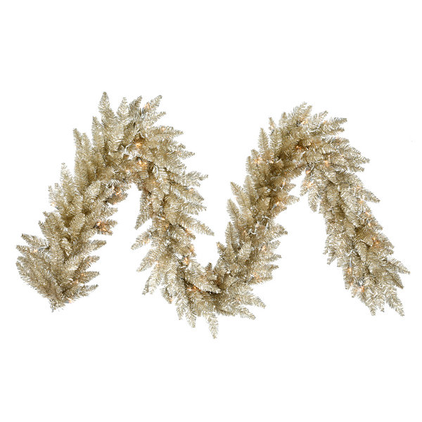 Vickerman 9' Champagne Christmas Garland with 100Warm White LED Lights