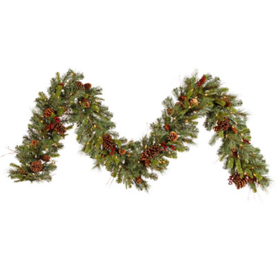Vickerman 9' Cibola Mixed Berry Christmas Garlandwith 100 Clear Lights