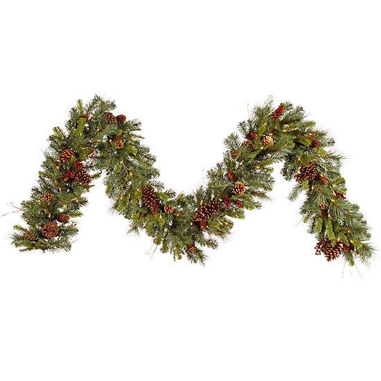 Vickerman 9' Cibola Mixed Berry Christmas Garlandwith 100 Clear Lights