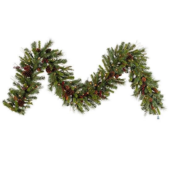 Vickerman 9' Cibola Mixed Berry Christmas Garland with 100 Warm White LED Lights