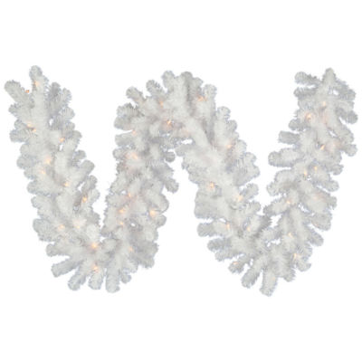 Vickerman 9' Crystal White Spruce Christmas Garland with 100 Warm White Spruce LED Lights