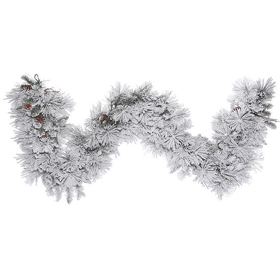 "Vickerman 9"" Flocked Alberta Christmas Garland Unlit"